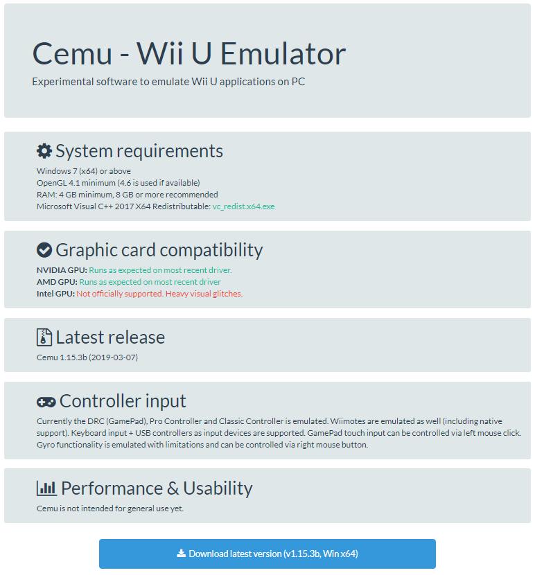 CEMU - Nintendo Wii U 에뮬레이터 - 앱/SW - 이즈클릭